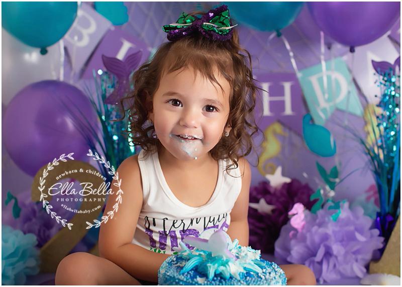 Littlest Mermaid San Antonio Two Year Cake Smash Photographer Austin